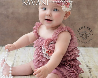 lace baby romper,3 pcs set,dust pink lace romper set. Lace Petti Romper , headband and clip, Baby Girl Photo Prop