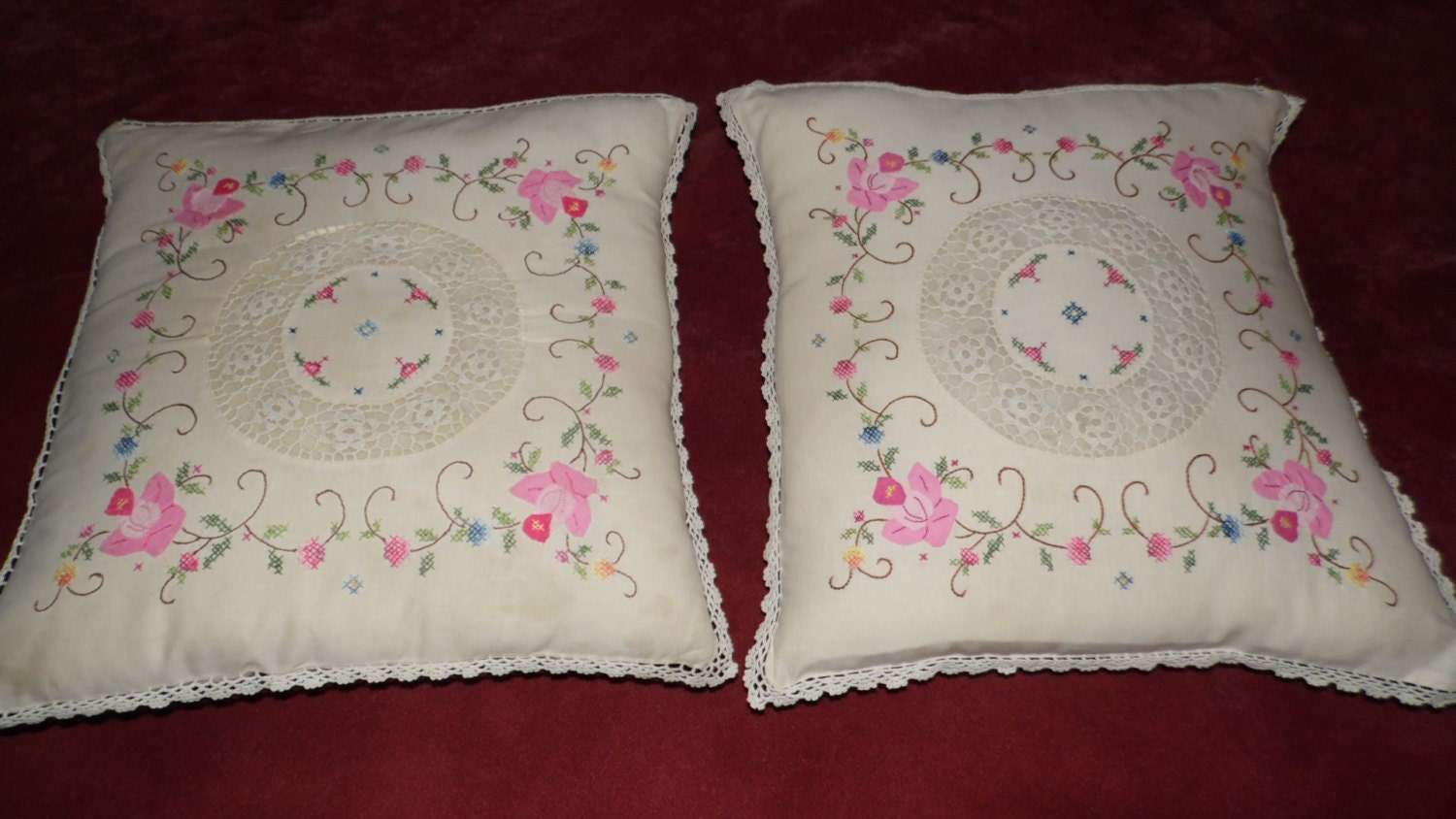 Shabby Chic Pink Pillows : Shabby Chic Pink Lace Crochet/Embroidered Pillow by FabulousFinds1