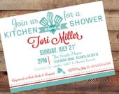 Printable Retro Kitchen Bridal Shower Invitation-Double Sided-Digital 5X7 JPG File-With Matching Recipe Card