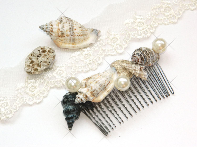 Wedding hair comb sea shells hair accessories sea shell for Seashells for hair