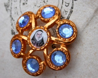 Italy  religious medals gold tone  brooch religious medal photo miniature flower sapphire blue faceted crystal brooch