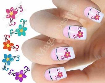 Elegant Nail Decals, Water Slide Nail Stickers, Flower Border