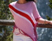 SHORT SUMMER Poncho. Color Block Pink Red White Orchid Light Jacket Sweater Cardigan Alternative. Hand Knitted Fashion Accessory.