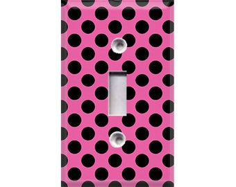 Black Polka-Dots on Pink Light Switch Cover