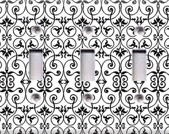 Black and White Intricate Triple Light Switch Cover
