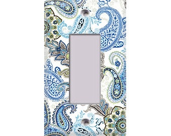 Blue and Brown Paisley Rocker/GFI Cover