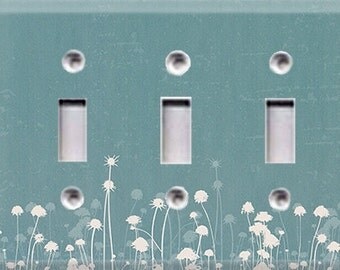 Nature Lover Collection - Dandelions Triple Light Switch Cover