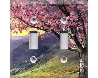 Scenery Collection - Cherry Blossom Tree Double Light Switch Cover