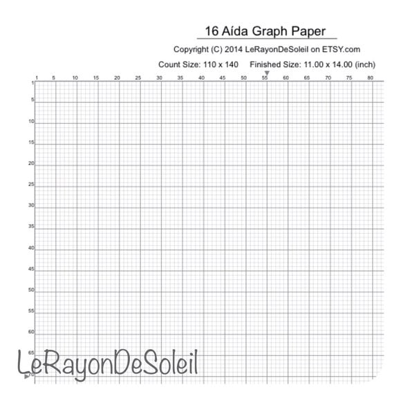 Items similar to Aida 16 cross stitch graph paper grid template – Cross Stitch Graph Paper