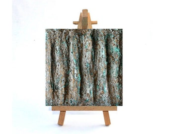 Abstract painting, original painting mixed media 4x4 green gold leaf