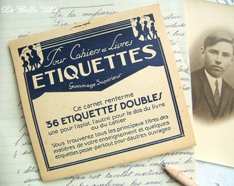 Vintage French school labels – Set of 36 double gummed labels