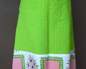 green cotton a-line knee length skirt vintage fabric