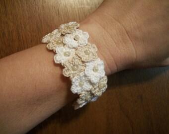 Crochet Flower Bracelet Double Row