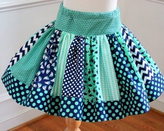 girls mint green and navy blue skirt girls skirt birthday outfit girls whale anchor sailboat polka dot chevron beach summer skirt twirly