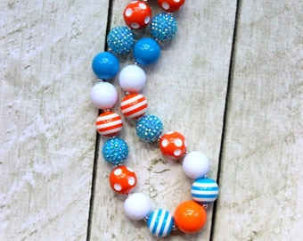 Bubblegum chunky bead necklace. Aqua pearl orange white Finding Nemo girls necklace. Birthday necklace. Christmas necklace. Beaded necklace.