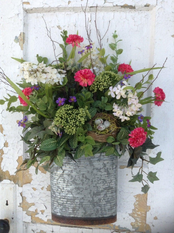 Spring Wreath For Door Spring Basket For Door Rustic Tin