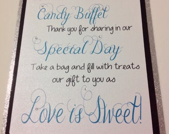 Candy Buffet Welcome  Sign, Wedding Sign, Party Supplies