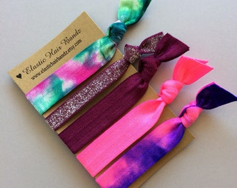 The Stassi Tie Dye Hair Tie Ponytail Holder Collection by Elastic Hair Bandz