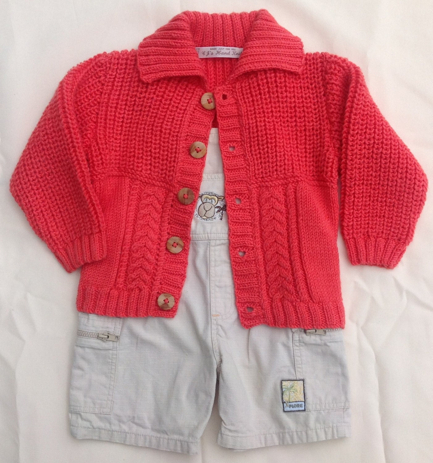 Boys Cardigan Sweater Boys Orange Sweater Cable Knit