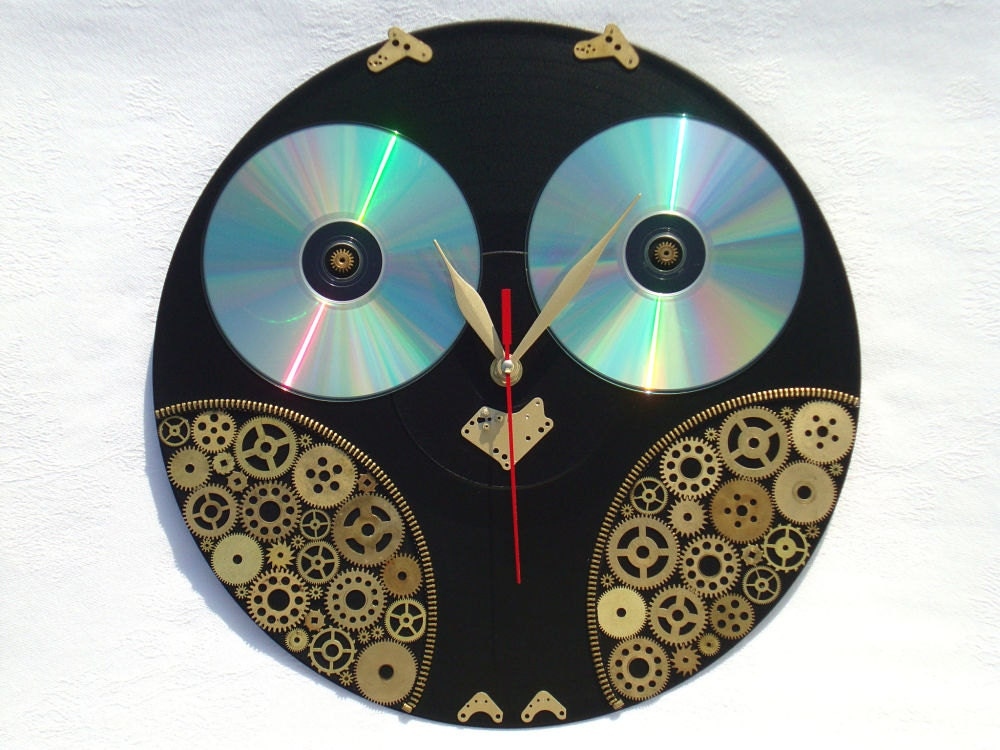 Wall Clock Owl Design : Steampunk wall clock owl clocks decor