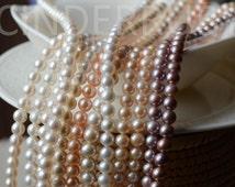 "White Round Freshwater Pearls,Peachy Nearly Round Pearls,Mauve Round Pearls,7-8 Genuine Pearls,Luxe AA,Full Strand 15.5"", June Birthstone"