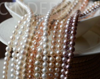 "White Round Freshwater Pearls,Peachy Nearly Round Pearls,Mauve Round Pearls,7-8 Genuine Pearls,Luxe AA,Full Strand 15.5"", June Birthstone"