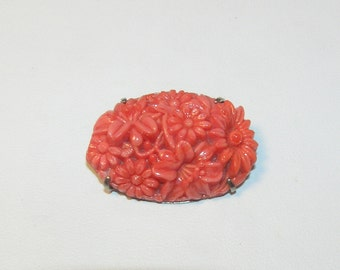 Vintage, Faux Coral Molded Celluloid Chrysanthemum Brooch