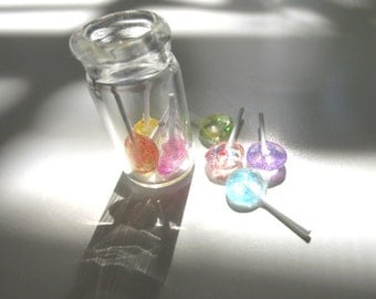 Miniature Lollipop Pastel Ice Lollipop Miniature Candy Sparkle Pastel Resin Lollipop Dollhouse Candy Charm Bottle Charm Gift Candy Lover