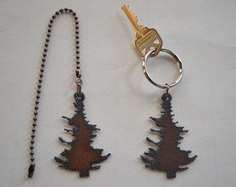 Rustic Rusty Rusted Recycled Metal PINE TREE Fan/Light Pull or Key Chain / Personalized Keychain