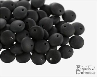 Jet Matted Czech Lentil Beads 8 mm, 30 pcs (8305)