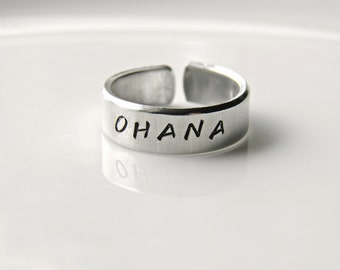 OHANA, means family. Lilo and Stitch.  Hand stamped custom made ring.