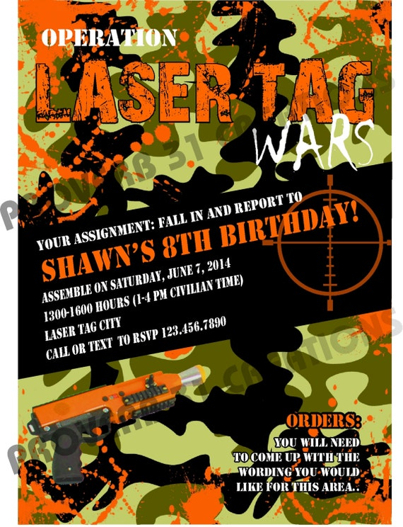 Laser Tag Party Invitation for beautiful invitation template