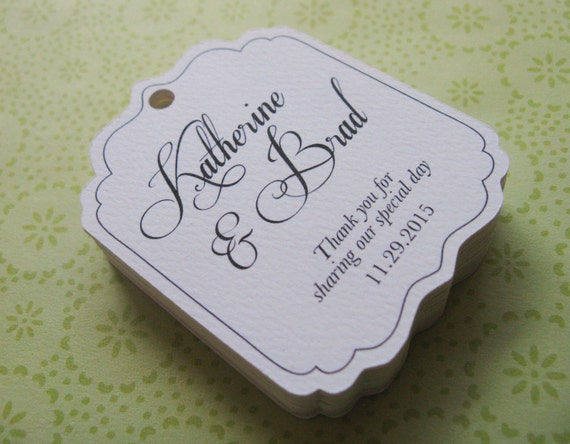 Personalised Wedding Gift Tags : Wedding Favor Tag, Personalized Gift Tags or Shower Favor Tags, Custom ...