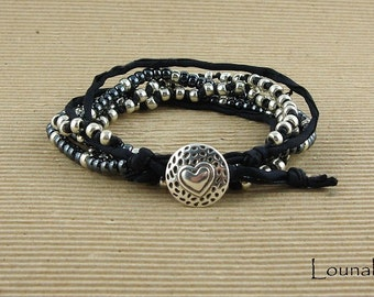Multirows wrap bracelet silver and black, silk and beads, heart button, boho style