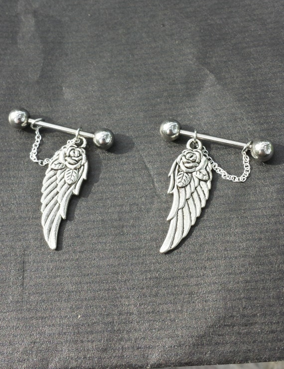 Wings set of 2 14g barbell nipple rings for Pierced nipple stretching jewelry