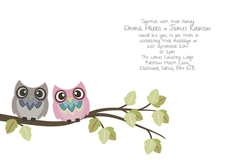 Love Birds Wedding Invitation, Owl Wedding Invitation, DIY Wedding ...