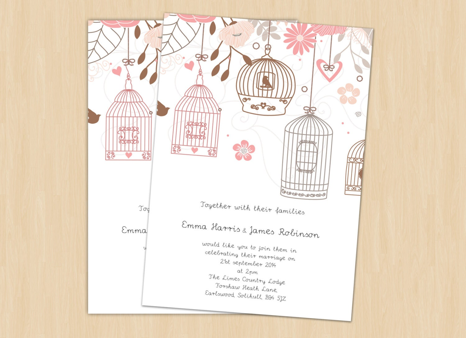Bird Wedding Invitation: Bird Cage Invitation Printable Template DIY Wedding By