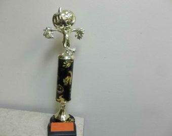 Halloween trophy, Award for Best Costume, Scariest, Most Original, Scarecrow with Pumpkin head