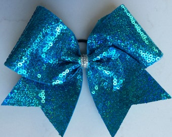 Cheer Bow - Turquoise Sequin
