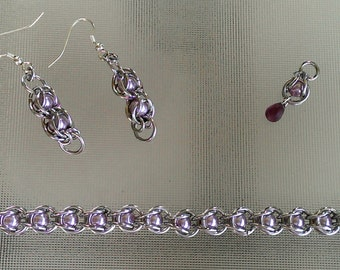 Chainmaille and Glass Pearl Set