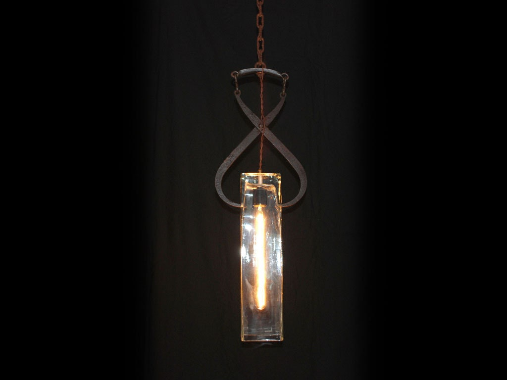 Vintage Ice Tong Hand Blown Glass Pendant Light