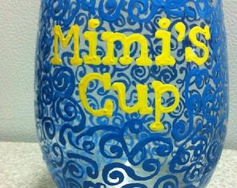 Mimi Wine Glass- Nana- Grandma- Swirly Art Wine Glass