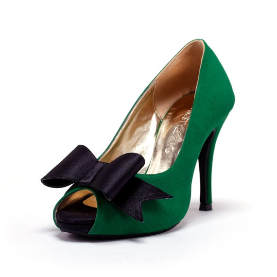 Custom Made Wedding Heels, GreenWedding Heels with Front Bow, Green Wedding Shoes, Emerald Green Bridal Shoes