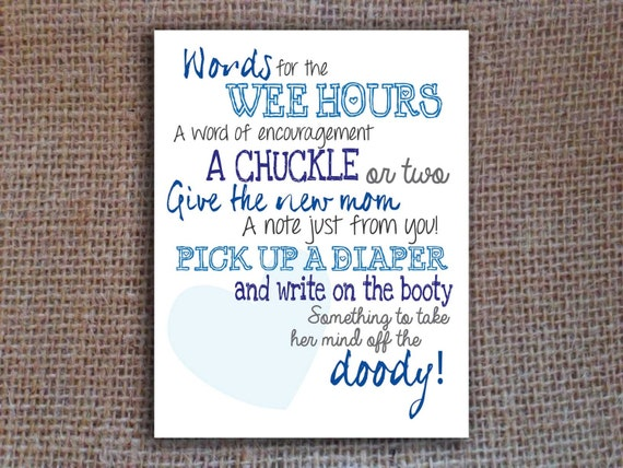 diaper notes game baby shower printable blue instant by kitsyco