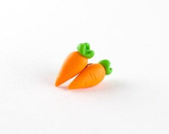 Little carrots earrings - small carrot earrings - carrot post earrings - polymer clay earrings