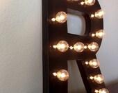 Frameless Vintage Inspired Marquee Light- Letter R, home decor, lighting, marquee letter, marquee light, letter, vintage, initial, wall art