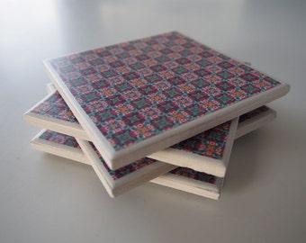 Tile coasters - set of 4 - purple/patterned
