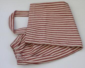 Grocery bag holder, plastic bag holder,bag organizer, kitchen bag holder,kitchen garbage bag organizer,housewarming gift,red ticking  stripe