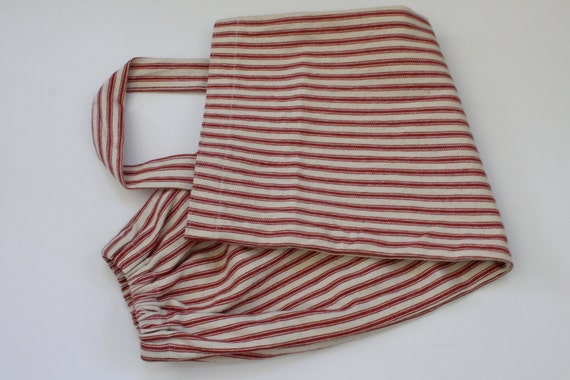 Grocery bag holder, plastic bag holder,bag organizer, kitchen bag holder,kitchen garbage bag organizer,housewarming gift,red ticking  stripe