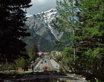 Print, Mountain Landscape, Banff Avenue, Banff Alberta Canada 2013